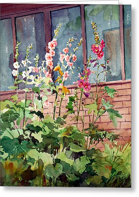 Mixed Hollyhock Greeting Card by Peter Sit
