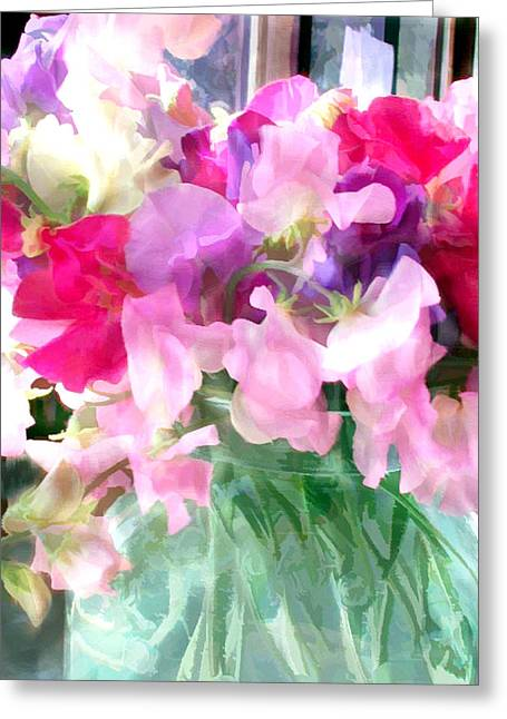 Mixed Sweet Peas In A Jar Greeting Card by Elaine Plesser