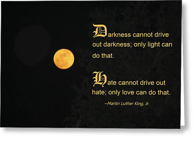 Mlk And A Yellow Moon Greeting Card by Andrea  OConnell