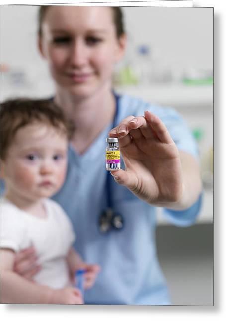 Mmr Vaccine Greeting Card by Tek Image