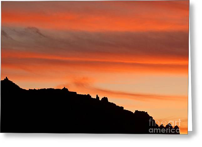 Moab Rim Sunset Greeting Card by Bob and Nancy Kendrick