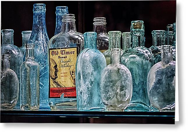 Mob Museum Whiskey Bottles Greeting Card by Sandra Welpman