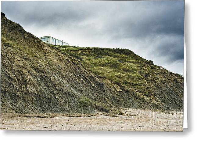 Mobile Home Perched On Cliff Greeting Card by Jon Boyes