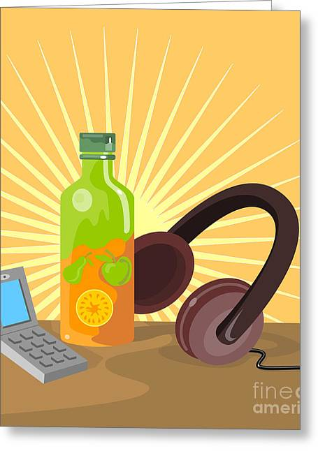 Mobile Phone Soda Drink Headphone Retro Greeting Card by Aloysius Patrimonio