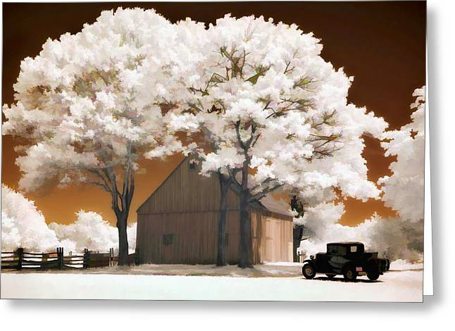 Model A And Old Barn Greeting Card