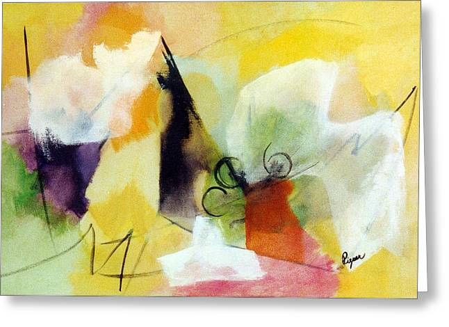 Modern Art With Yellow Black Red And Fanciful Clouds Greeting Card by Betty Pieper