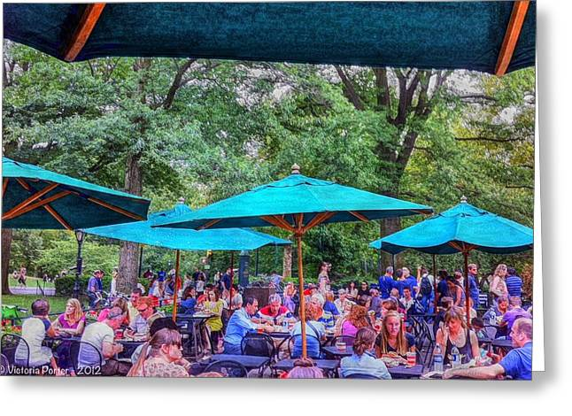 Modern Boating Party Crowd At Central Park In New York City Greeting Card