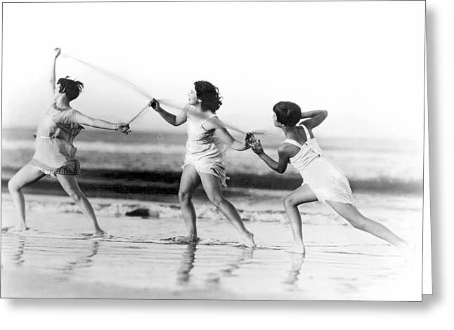 Modern Dance On The Beach Greeting Card by Underwood Archives