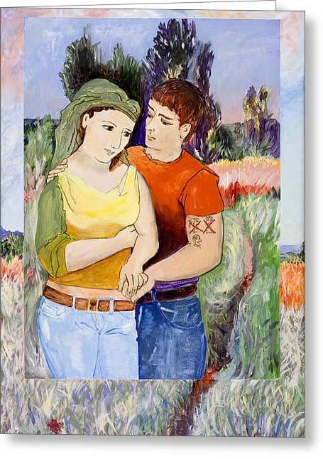 Levis Paintings Greeting Cards - Modern Lovers  Greeting Card by Susan Cafarelli Burke