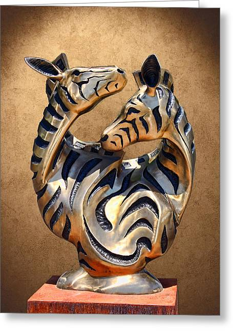 Modern Zebra Sculpture Greeting Card by Linda Phelps