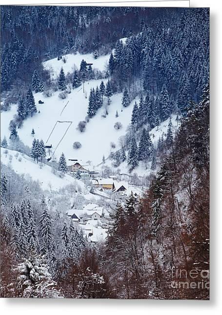 Moeciu Village In Winter Greeting Card by Gabriela Insuratelu
