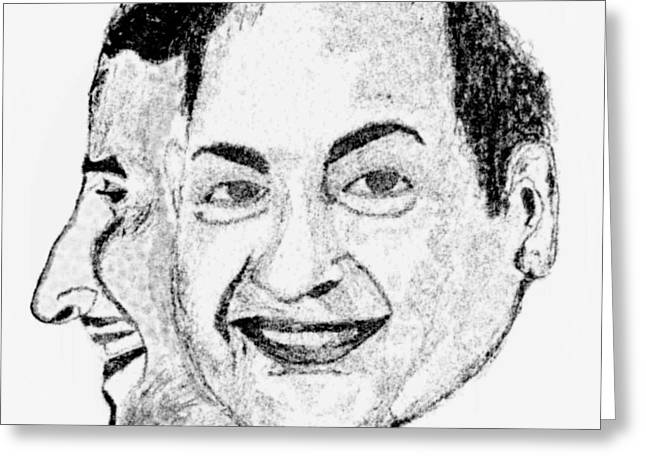 Mohammed Rafi Sketch Younger And Older Greeting Card by Ashok Naraian