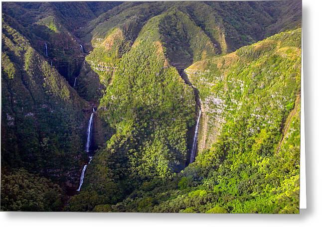 Molokai Hawaii Waterfalls Greeting Card by Scott McGuire