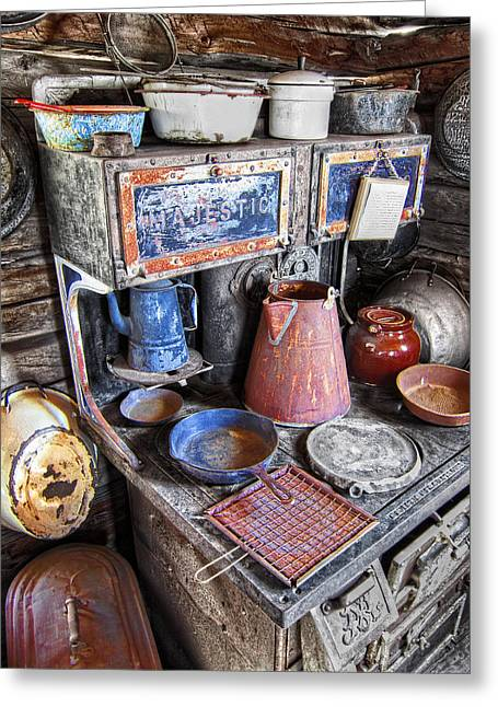 Molson Ghost Town Stove - Washington Greeting Card by Daniel Hagerman