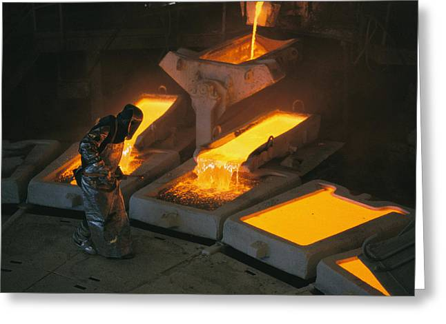 Molten Copper Is Poured Into Molds Greeting Card