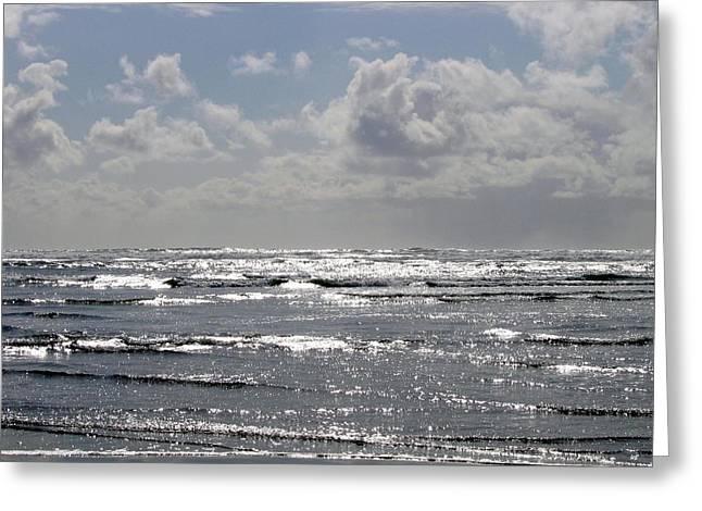 Molten Silver Sea Greeting Card