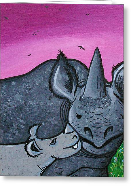 Momma And Baby Rhino Greeting Card by Jera Sky