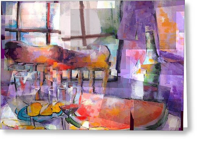 Indoor Still Life Paintings Greeting Cards - Moms Table Greeting Card by J Christian Sajous