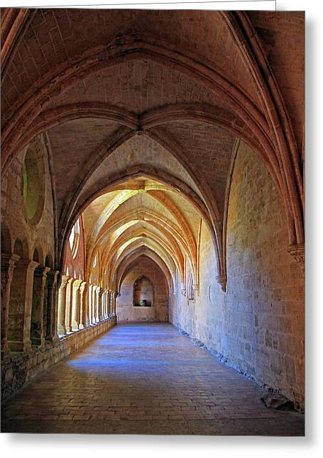 Greeting Card featuring the photograph Monastery Passageway by Dave Mills
