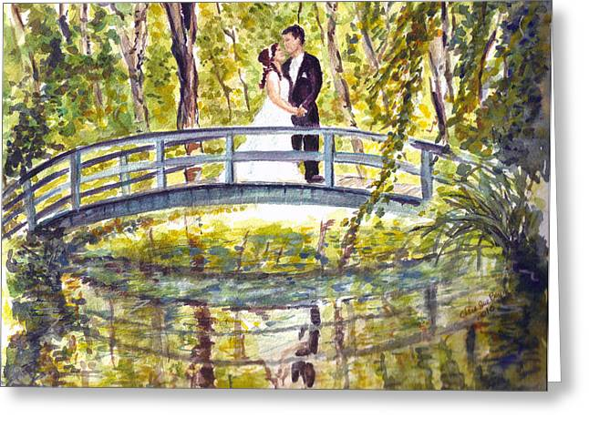 Greeting Card featuring the painting Monet Wedding by Clara Sue Beym