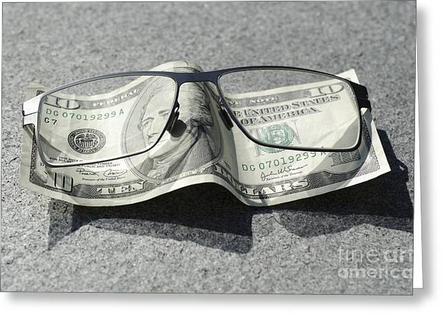 Money And Eyeglasses Greeting Card