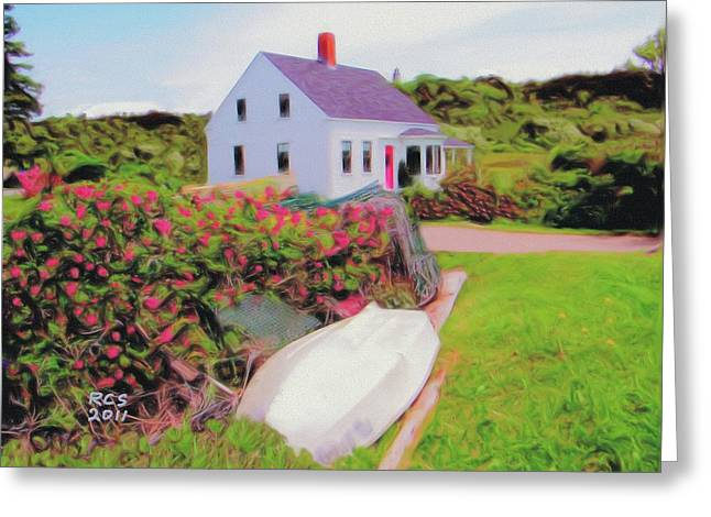 Monhegan Cottage Greeting Card by Richard Stevens
