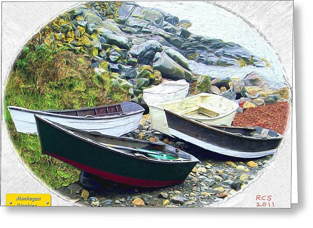 Monhegan Dinghies Greeting Card by Richard Stevens