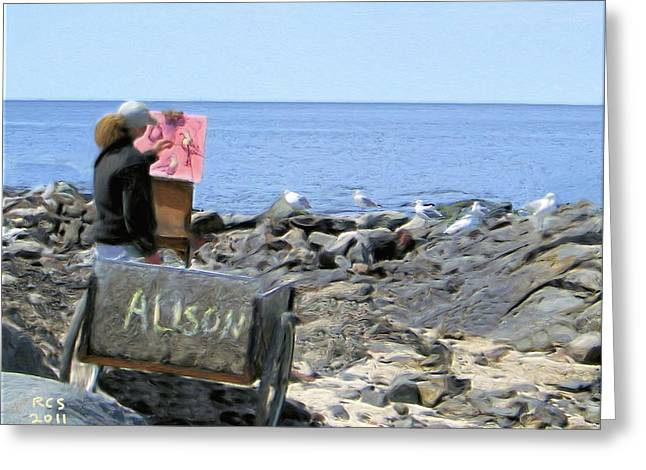 Monhegan Gulls Greeting Card by Richard Stevens