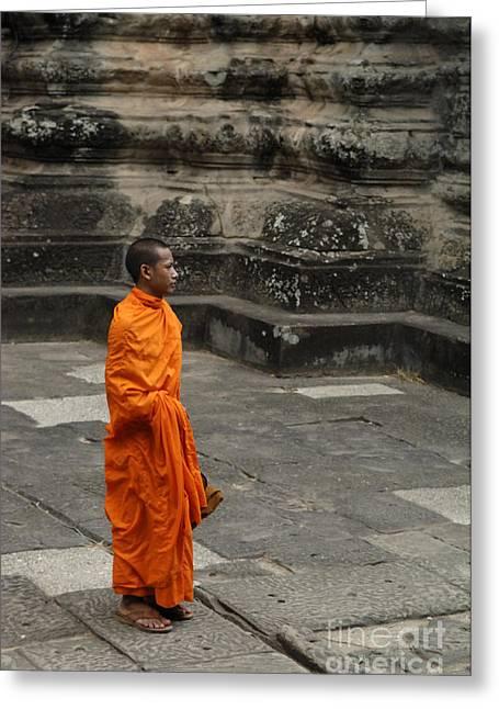 Monk At Ankor Wat Greeting Card