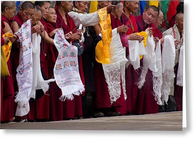 Greeting Card featuring the photograph Monks Wait For The Dalai Lama by Don Schwartz