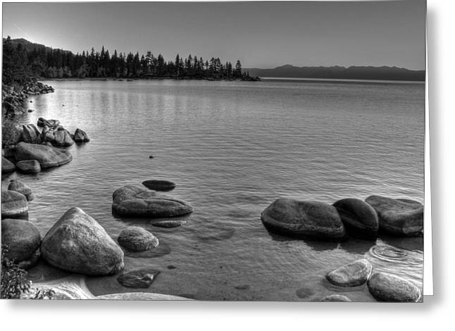 Monochrome Lake Tahoe Sunset Greeting Card
