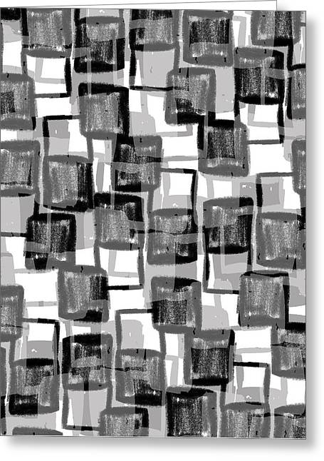 Monochrome Squares Greeting Card by Louisa Knight