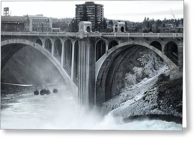 Monroe St Bridge 2 - Spokane Washington Greeting Card by Daniel Hagerman