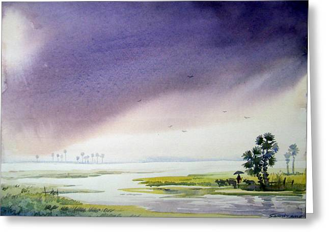 Greeting Card featuring the painting Monsoon At  Village River by Samiran Sarkar