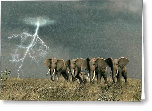 Monsoon On The Serengeti Greeting Card by Walter Colvin