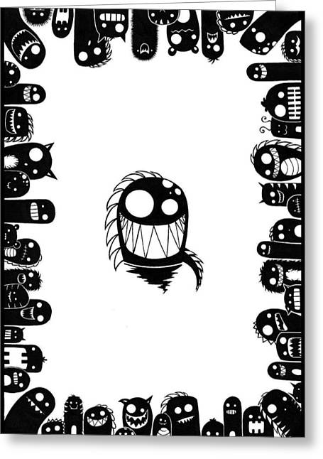 Monster Army Greeting Card by Kalie Hoodhood