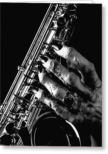Monster Hand Saxophone Greeting Card by M K  Miller