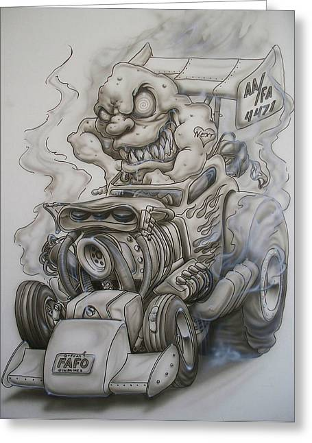 Monster Rod Greeting Card by Mike Royal