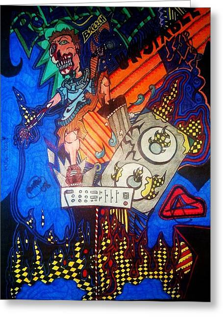 Monster Vocals Greeting Card by Ragdoll Washburn