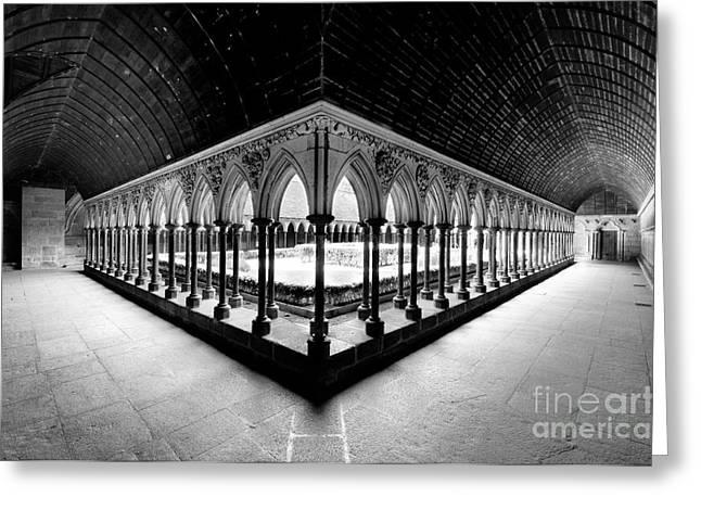 Mont Saint Michel Monastery Inner Court Greeting Card