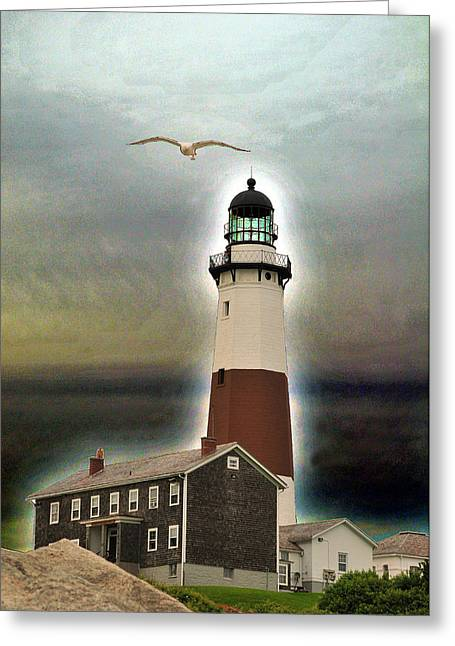 Montauk Lighthouse 3 Greeting Card by Dennis Clark