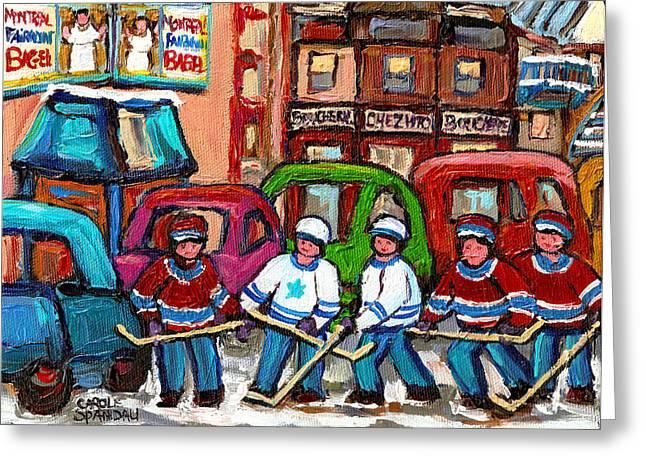 Montreal Bagels And Hockey Greeting Card by Carole Spandau