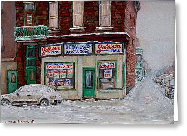 Montreal Corner Market Winter Scene Greeting Card by Carole Spandau