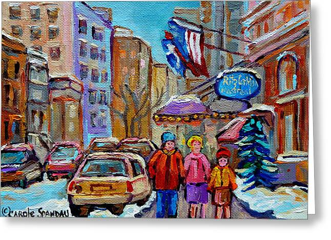 Family Walks Paintings Greeting Cards - Montreal Street Scenes In Winter Greeting Card by Carole Spandau