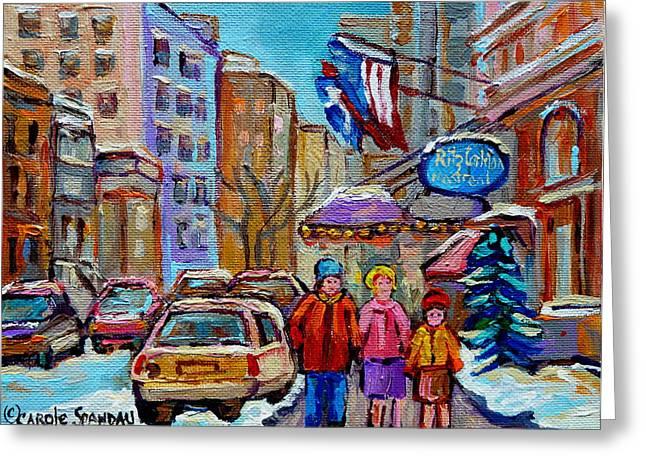 MONTREAL STREET SCENES IN WINTER Greeting Card by CAROLE SPANDAU
