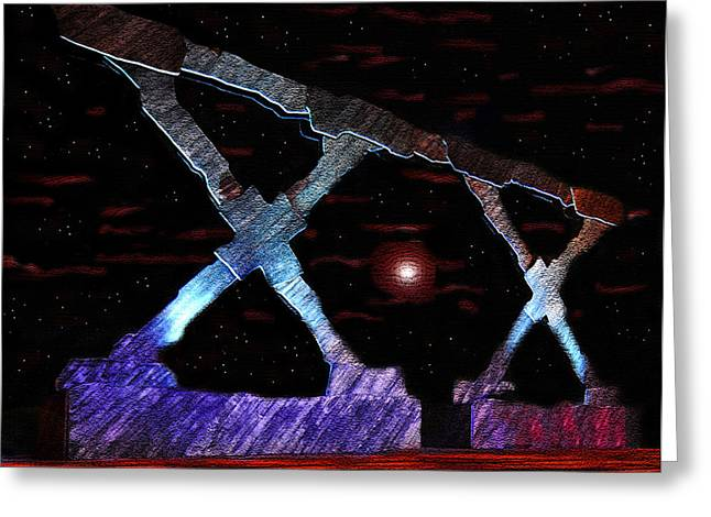 Monument On Planet X Greeting Card