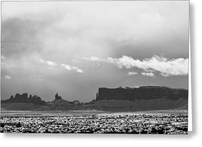 Monument Valley In Snow Panorama Greeting Card