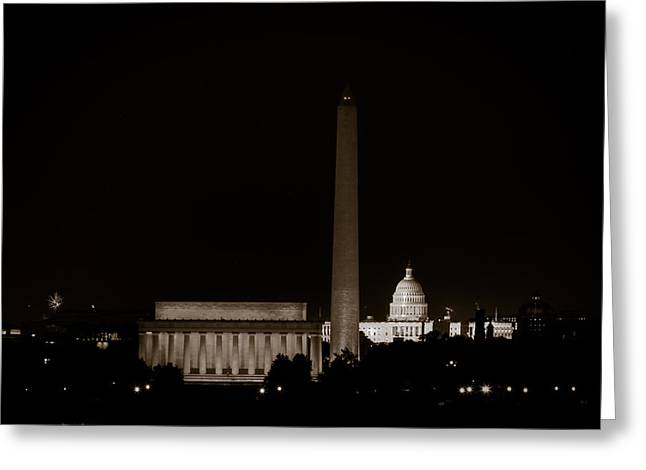 Monuments In Black And White Greeting Card by David Hahn