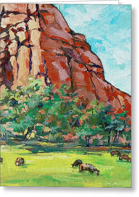 Moo Cow Greeting Card by Sandy Tracey
