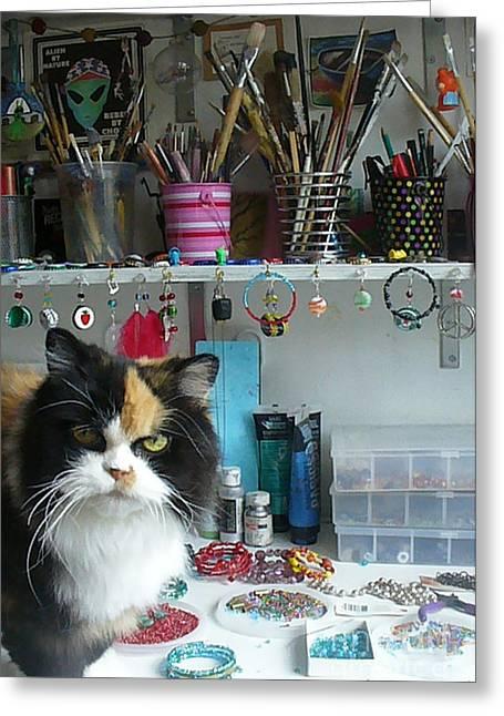 Moo Shu Cat On My Desk Greeting Card
